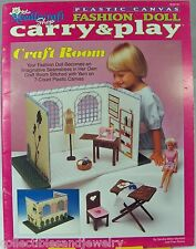 Plastic Canvas Fashion Doll Carry & Play Sewing Craft Room Needlecraft Shop 1993