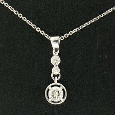 NUOVA 14k oro bianco 40.6cm 0.67ctw 3 ROTONDO BRILLANTE DIAMANTE PENDENTE