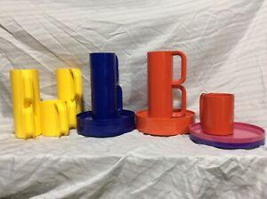 20 Heller Massimo Vignelli Melamine Op Art Plastic MID CENTURY 10 Plates 10 Mugs