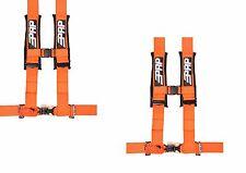 "PRP 4 Point Harness 3"" Pads Seat Belt PAIR ORANGE Polaris RZR XP Turbo 1000"