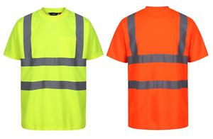 Traega TTS11 Hi Vis Visibility  Safety Workwear Short Sleeve T-Shirt