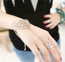 HAND SLAVE CHAIN BRACELET RING GOLD SILVER RING BRACELET CUT OUT HOLLOW DESIGN