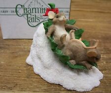 Charming Tails Mice Mouse Flying Leaf Saucer Figurine Silvestri Dean Griff Resin