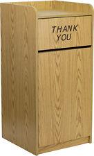 Lot of 2 Oak Restaurant Trash Can Receptacles - Wood Tray Top Receptacle