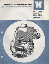 HIRTH EL 48 SNOWMOBILE & VEHICLE ENGINE MODEL 192 R SPARE PARTS MANUAL (652)
