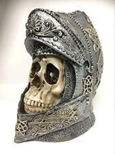 More details for knight skull helmet templar figure crusader gothic decor medieval style ornament
