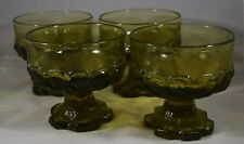 Vintage Tiffin Franciscan Madeira Olive Green Dessert/Sherbert Glasses Set of 4