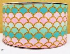 1.5 INCH GROSGRAIN RIBBON Hair Bow Supplies Wholesale Mermaid Scales Pearls
