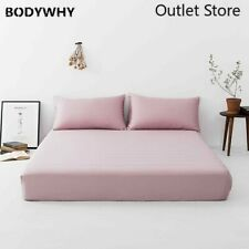 Luxury  Silk Pink Fitted Sheet Healthy Bedclothes Bed Sheet Pillowcase