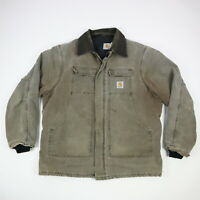 Vtg Carhartt C26 Quilt Lined Artic Coat Faded Brown Distressed Workwear Mens XL
