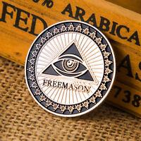 Masonic Freemason Silver Plated Commemorative Coin Token Collectible Physical A*