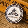 Masonic Freemason Silver Plated Commemorative Coin Token Collectible Physical AB
