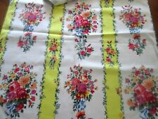 WONDERFUL FLORAL VINTAGE FRENCH FABRIC SAMPLE 1960s