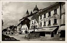 Melk an der Donau Niederösterreich s/w AK ~ 1940 Konditorei Café Tatzel Brunnen