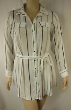 City Chic Ivory Stripe Long Sleeve Button Tunic Top Plus Size XS 14 BNWOT C1086