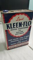 Vintage Kleen-Flo Motor Conditioner Tin Can Oil LARGE 128 fluid oz 1 GALLON