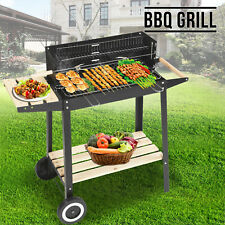 Rectangular BBQ Barbecue Steel Charcoal Grill Outdboor Patio Garden Wheels