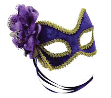 PURPLE AND GOLD EYE MASK GLASSES STYLE WITH FLOWER ADULT FANCY DRESS ACCESSORY M