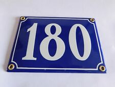 Antique French Blue  Genuine Enamel Porcelain House Door Number Sign / Plate 180