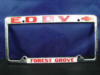 EDDY Forest Grove CHEVY CA Dealerhip Embossed Metal License Plate HOLDER