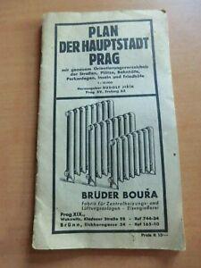 Stadtplan Prag von 1940 mit deutschen Straßennamen Plätzen ... der Zeit Werbung