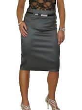 Womens Stretch Matte Satin Skirt Diamante Belt Dark Silver Grey Smart NEW 8-22
