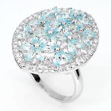 Großer Ring Blautopas Sky Blue & CZ 925 Silber 585 Wei��gold Ø 18.1 mm