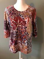 CJ Banks Womens Shirt Top Size X Orange Purple Floral Cotton Stretch 3/4 Sleeve