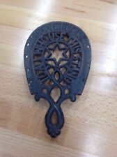 Antique Cast Iron Trivet Horseshoe Good Luck To All Who Use This Stand 3 Footed