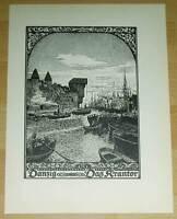 Danzig Gdansk Krantor: alte Tafel Druck Ansicht 1920 Pommern Osten Städteansicht
