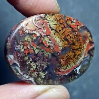 52ct AAA NATURAL Green Brown RED GARDEN MOSS AGATE ~3-dimensional PICTURE~