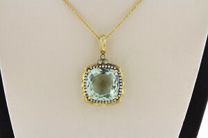 14K Yellow Gold Women Natural Cushion Green Amethyst Real White Diamonds Pendant