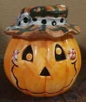 "Vintage Ceramic Smiling Patchwork Country Jack-o'-lantern Halloween 5"" Pumpkin"