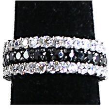 3-Ring Set_Prong_Narrow (C-B-C) Cz Eternity Bands_Sz-5_925 Sterling Silver