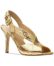 Michael Kors Becky Gold Metallic PEEP Toe Strappy Sandals Sz 9 Retail
