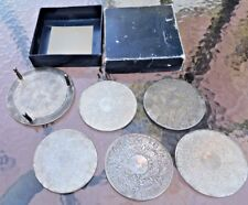 """5 Vintage Coasters Set '70s W Stand Silverplated In Box Monogrammed with """"D &V"""""""