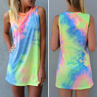 Women Sleeveless Tie Dye Mini Dress Tank Tops Vest Summer Beach Holiday Sundress