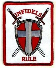 Infidels Rule Crusader Swords Shield Embroidered Athiest Biker MC Patch PAT-2190