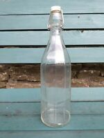 Vintage 1 Litre Clear Glass Bottle - Clip Top - Nice 10 Sided Shape