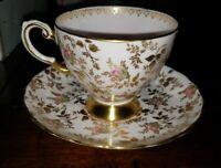 Vintage Fine English Bone China Cup & Saucer - Gold Trim