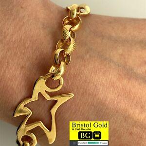 Stunning Gold On 925 Silver Star Bracelet - Fully Hallmarked - FREE P&P