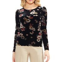 VINCE CAMUTO NEW Women's Floral Puff Sleeve Velvet Blouse Shirt Top TEDO