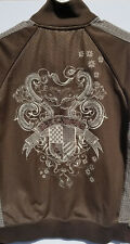 Billabong Mens Jacket Full Zip Embroidered Brown Long Sleeve Nice