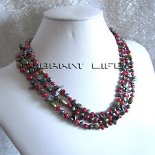 """57"""" 5-8mm Multi Color Freshwater Pearl Necklace Strand Keshi Coin Jewelry UK"""