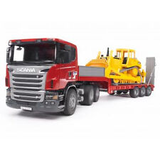 BRUDER 03555 SCANIA R-series Low Loader Truck With Cat Bulldozer 1 16