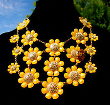 RARE! Kate Spade Queen Bee Floral Bib Necklace Daisy flower blooms HUGE!