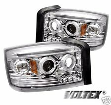 2005-2007 DODGE DAKOTA HALO LED PROJECTOR HEADLIGHTS LIGHTBAR LIGHT BAR CHROME