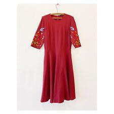 eShakti Custom Dress Sz Small Maroon Red Embroidered Bird Floral Midi