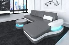 Ledersofa Couch MODENA L Form Design Sofa Luxus Couch Garnitur LED Beleuchtung