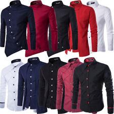 Herren Business Hemd Slim Fit Langarmhemd Unifarben Bügelleicht Freizeithemden